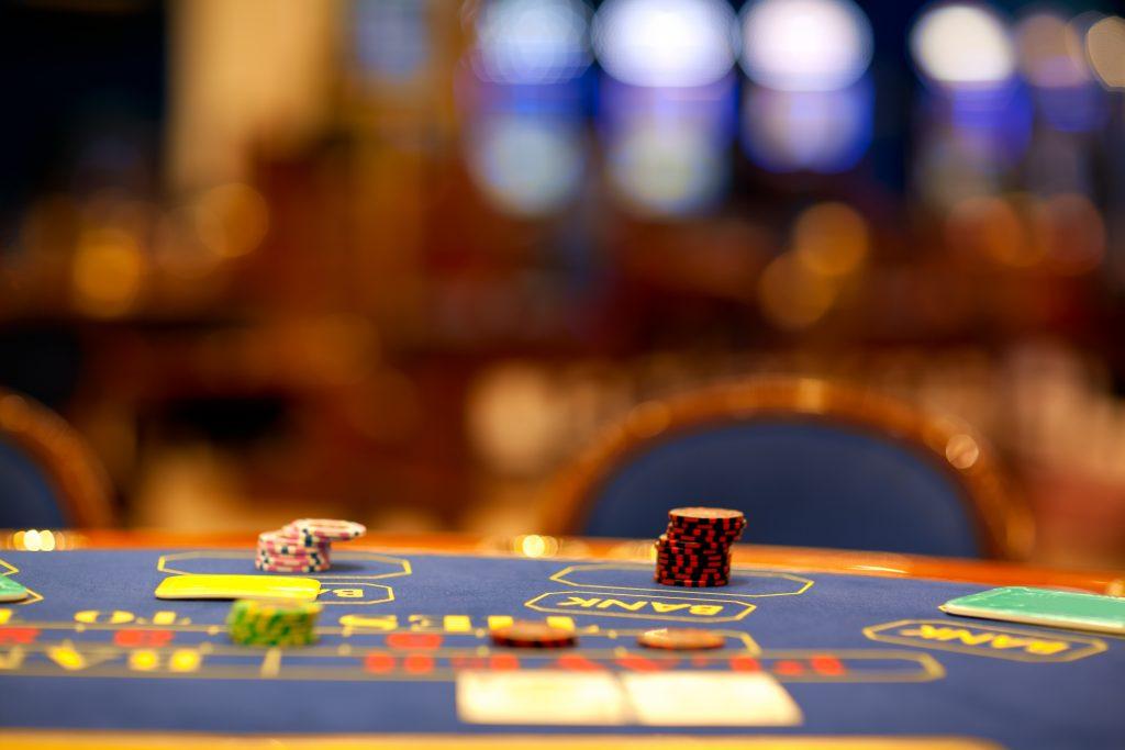 blackjack table with no players