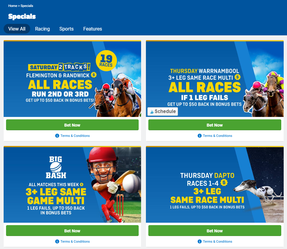 Selection of Sportsbet promotions and bonus specials