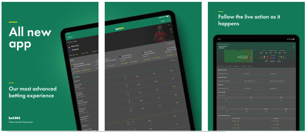 Screenshots of the Bet365 iPad iOS app