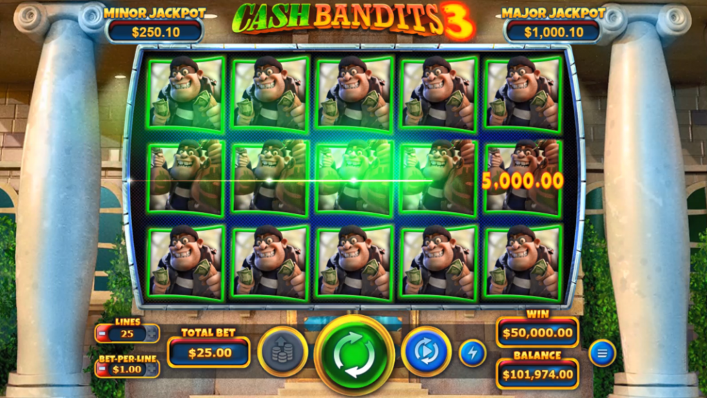 Desktop screenshot of playing the new Cash Bandits 3 slot by Real Time Gaming