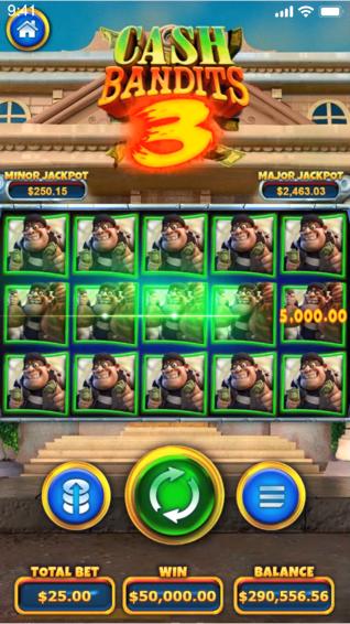 Portrait screenshot of Cash Bandits 3 slot played on iPhone