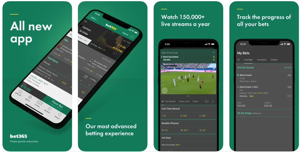 Screenshots of the Bet365 mobile app for iOS