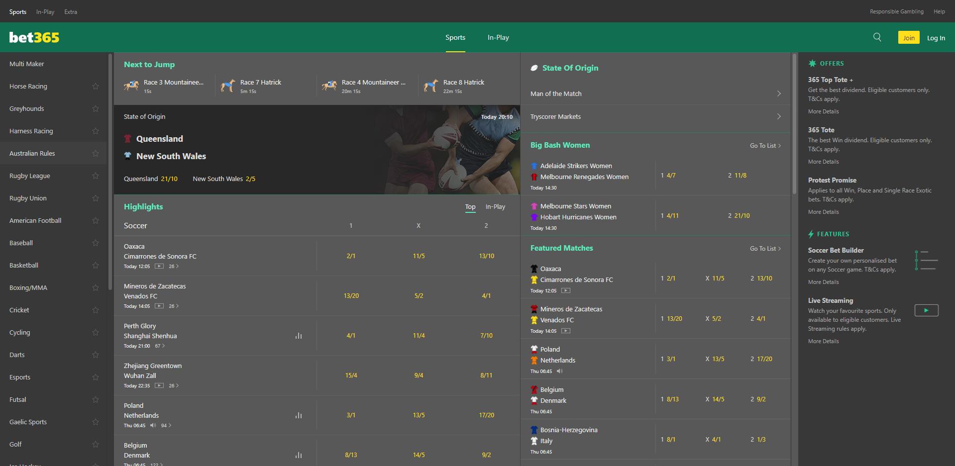screenshot of the bet365 sportsbook homepage