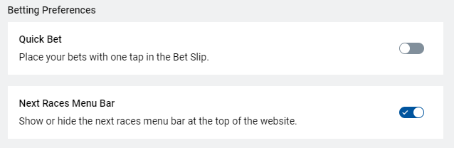 Interface settings changes layout to remove races menu on Sportsbet