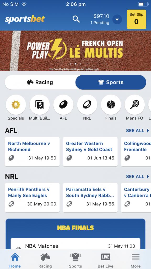 Sportsbet's Apple iOS app is great for beginners
