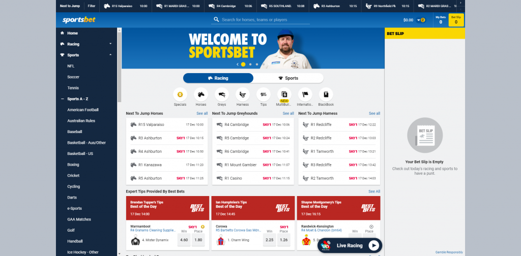 Sportsbet interface for online horse racing bets
