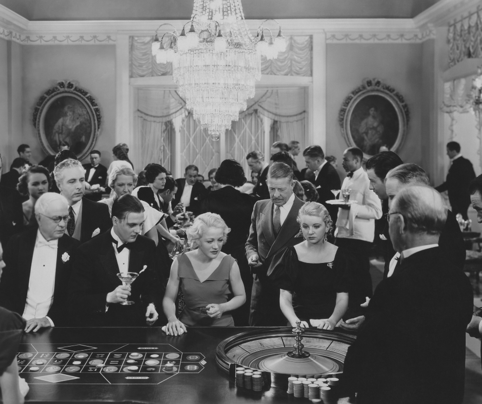 old black and white picture of roulette tables